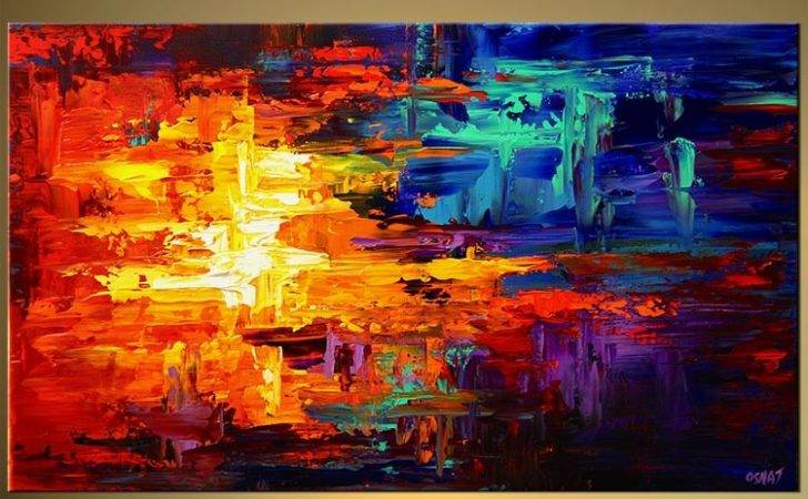Abstract Painting Bold Colorful Red Blue Yellow