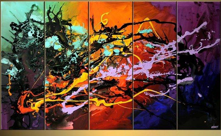 Abstract Painting Bold Colorful Splash Art Signature