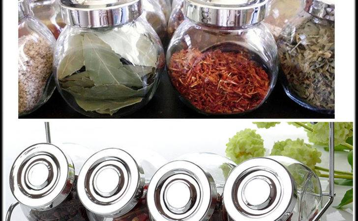 Airtight Round Spice Jars Canister Herb Vintage