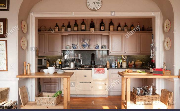 Alcoved Kitchen Cooking Area Large Aga Wooden