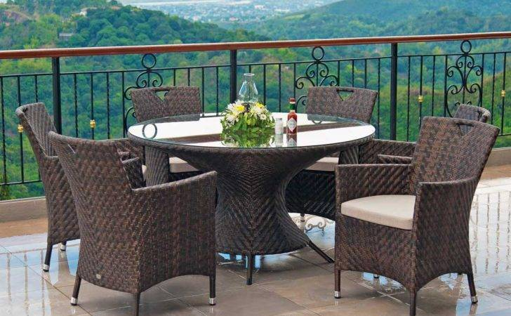 Alexander Rose Ocean Wave Round Table Armchairs