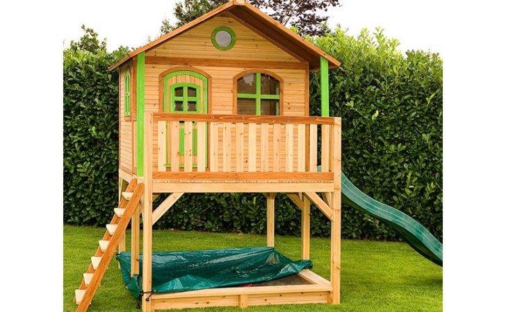 Amazing Wooden Playhouse Elevated Frame Slide