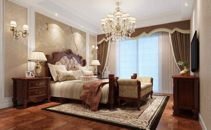 American Style Bedroom Double Bed Wood