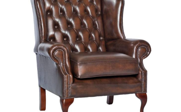 Amerigo Antique Brown Leather Fireside Chair Delivery