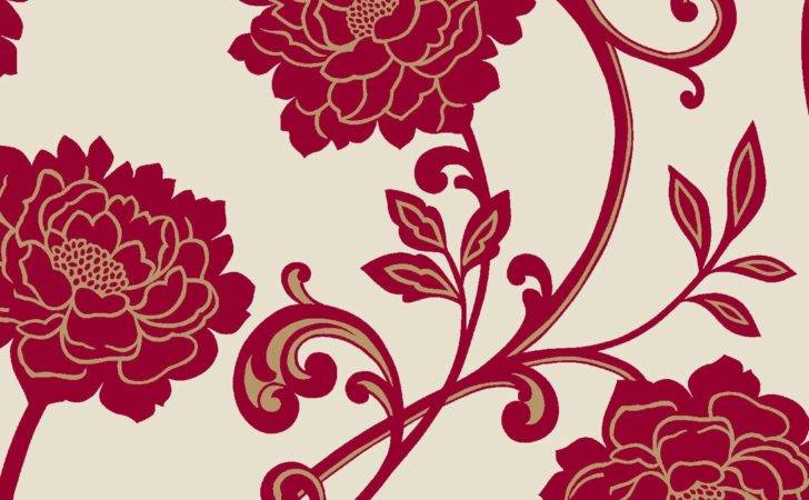 Annabell Cream Red Floral Border Departments Diy