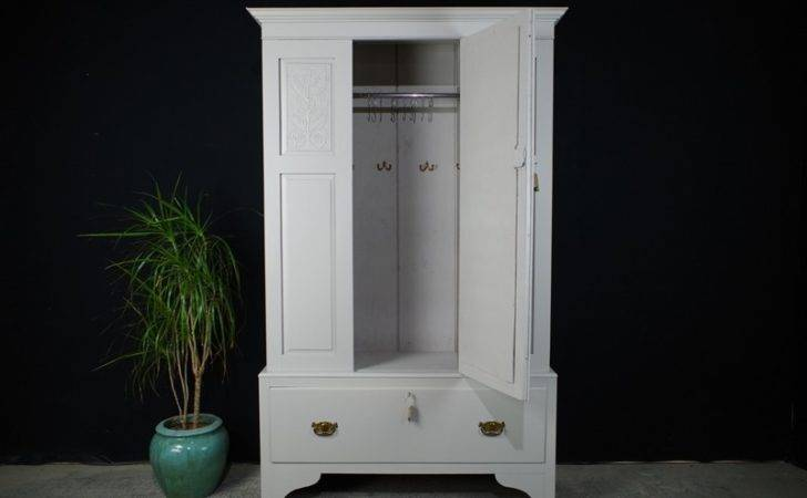 Antique Wardrobe Hall Cupboard Mirrored Door Painted