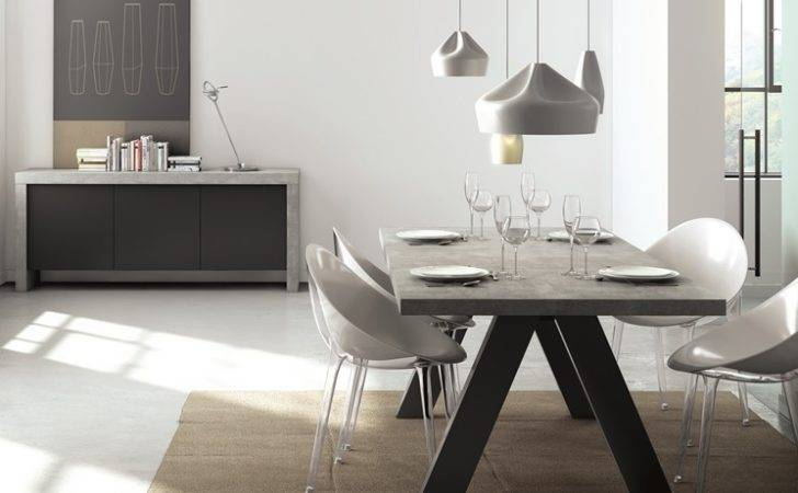 Apex Contemporary Dining Table Concrete Finish Temahome