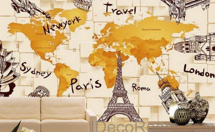 Architecture World Map Wall Decals Art