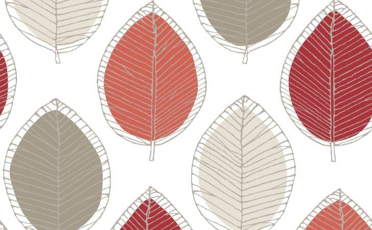 Arthouse Opera Beige Cream Red Sketched Leaf