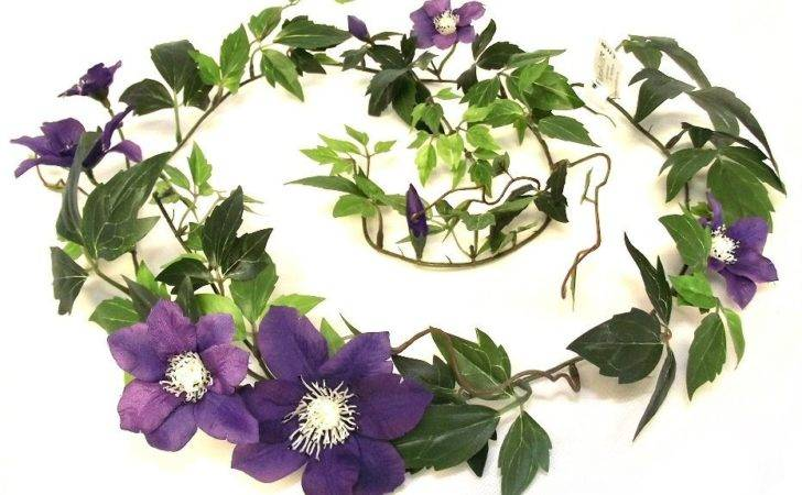 Artificial Clematis Garland Realistic Purple