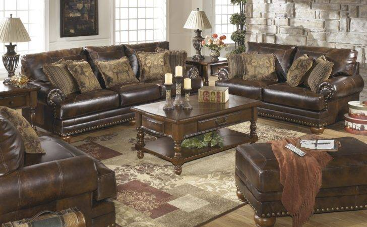 Ashley Brown Leather Durablend Antique Sofa