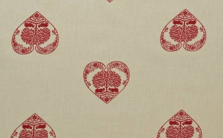 Authentic French Alpine Hearts Fabric Ecru Red