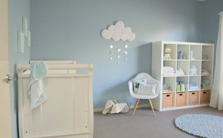 Baby Nursery Decor Clouds Rainy Blue White
