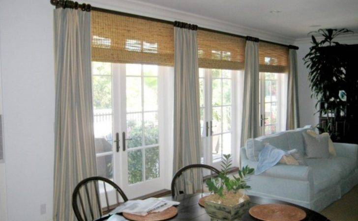 Bamboo Blinds Grey Curtain Traditional Room