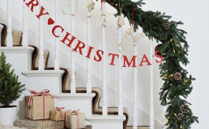 Banister Christmas Garland Best Stairs
