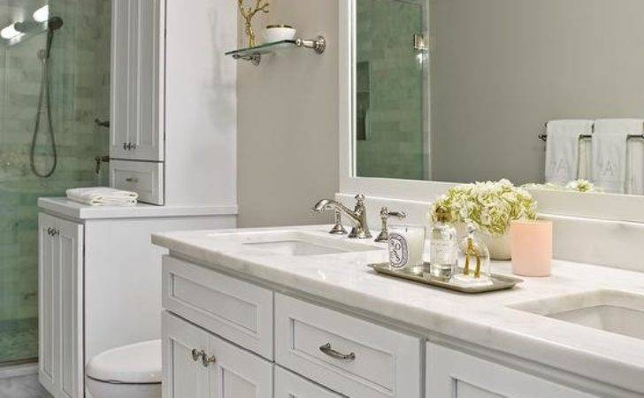 Bathroom Grey Marble Backsplash Shelf Transitional