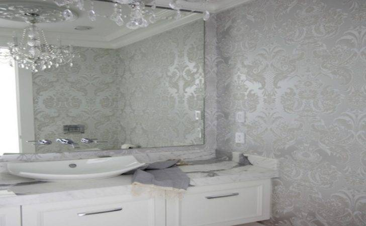 Bathroom Silver Powder Room Mirror Design Bathrooms