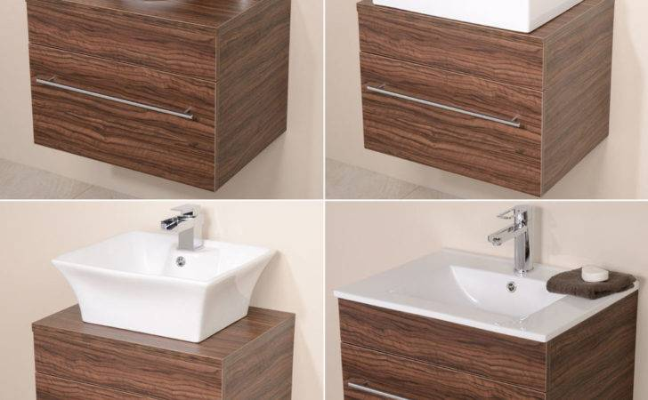 Bathroom Vanity Unit Walnut Furniture Wall Hung Mounted