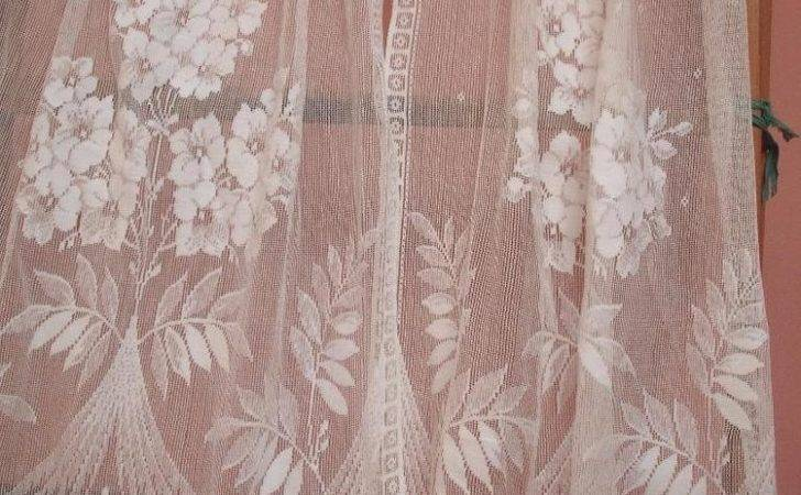 Beautiful Antique Vintage Art Deco Pair Lace Curtains