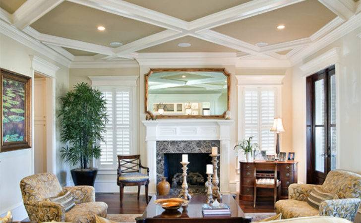 Beautiful Traditional Coffered Ceiling Living Rooms