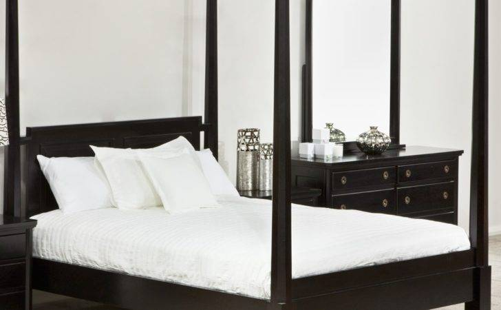 Bedroom Classic Black Lacquer Iron Canopy Bed