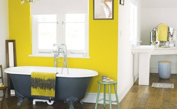 Bedroom Yellow Painted Feature Wall Paint
