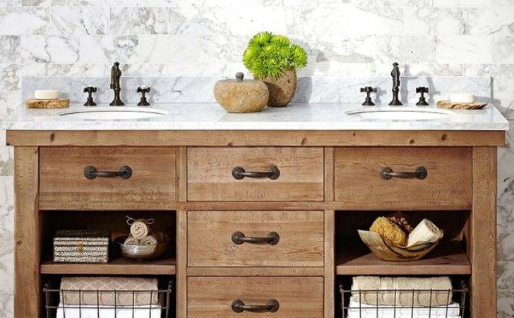 Benchwright Double Sink Console Wax Pine Finish Country