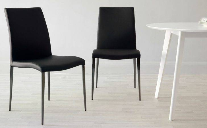 Black Chrome Dining Chair Faux Leather