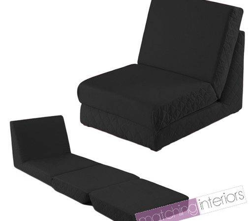 Black Fold Out Bed Single Chair Seat Guest