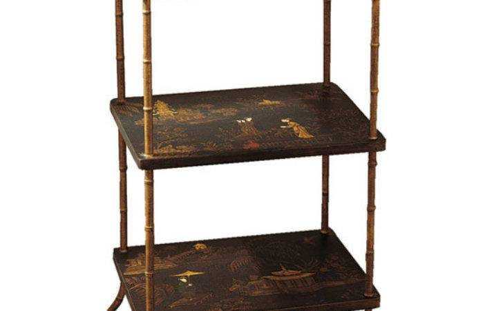 Black Gold Chinoiserie Three Tiered Side Table Oka