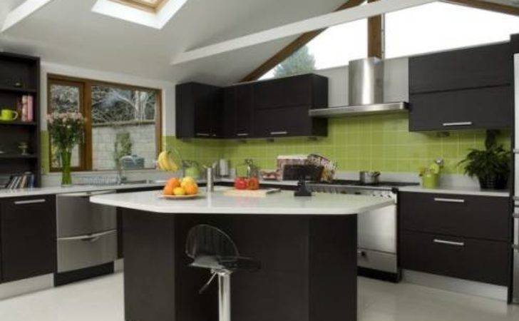 Black Kitchen Cabinets Green Walls Interior