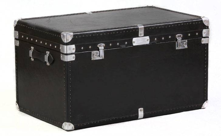 Black Leather Storage Trunk Large Chests Trunks