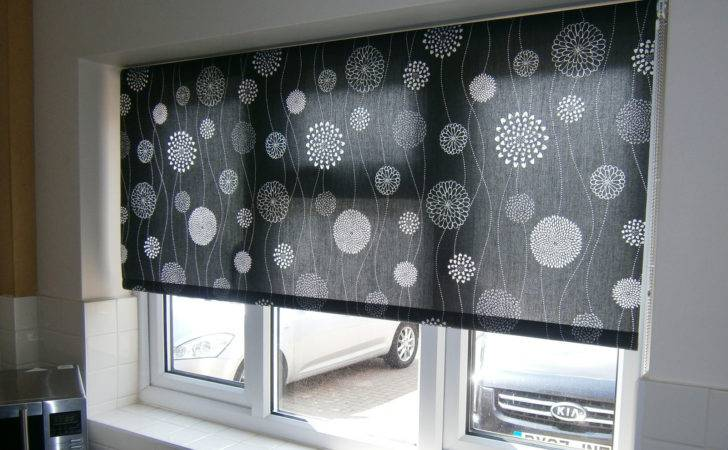 Black Patterned Roller Blind Kitchen Surrey Blinds