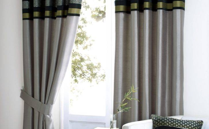 Black Silver Green Grey Lime Luxury Eyelet Curtain