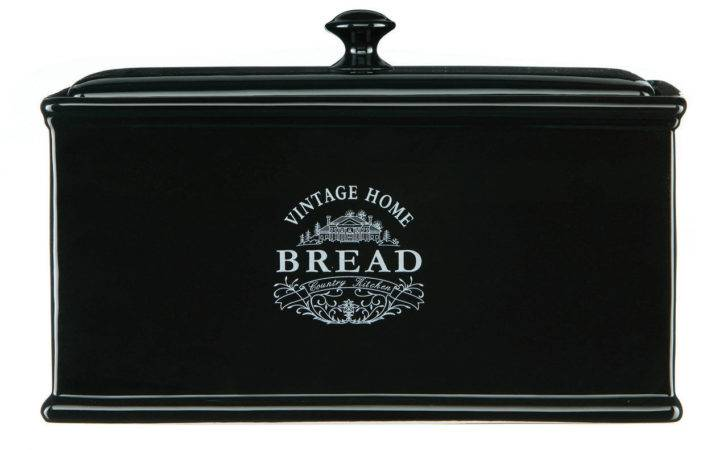 Black Vintage Bread Box Canister Home Ceramic Country