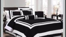 Black White Comforter Set Square Pattern Piece Bed