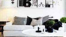 Black White Living Room Shelving Interior Design