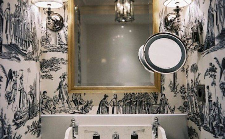 Black White Toile Transitional Bathroom