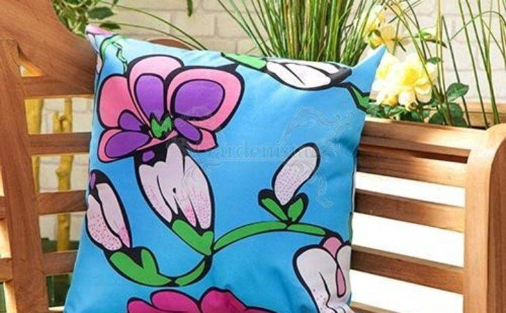 Blue Funky Flower Design Water Resistant Outdoor Filled