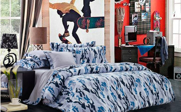 Blue Gray Camouflage Cool Bedding Sets Queen