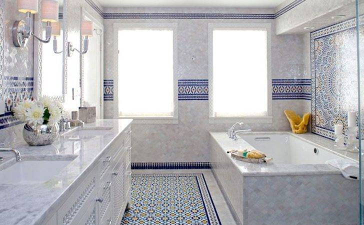 Blue Moroccan Mosaic Tile Bathroom Cape Cod
