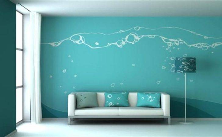Blue Wall Painting Design Ideas Living Room