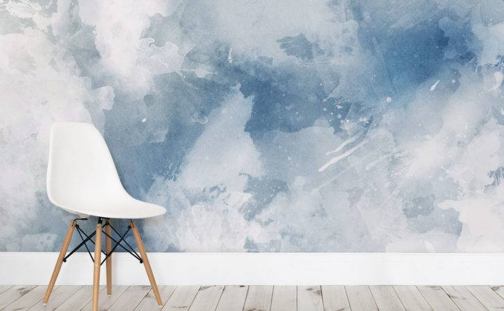 Blue White Grunge Paint Watercolor Wall Mural Milexa
