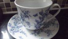 Blue White Large Breakfast Cup Saucer