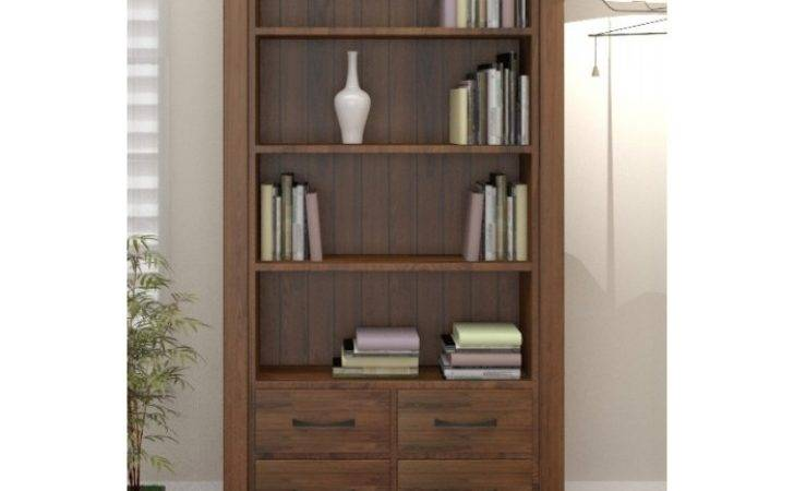 Bookshelf Outstanding Dark Wood Bookcase Solid Tall