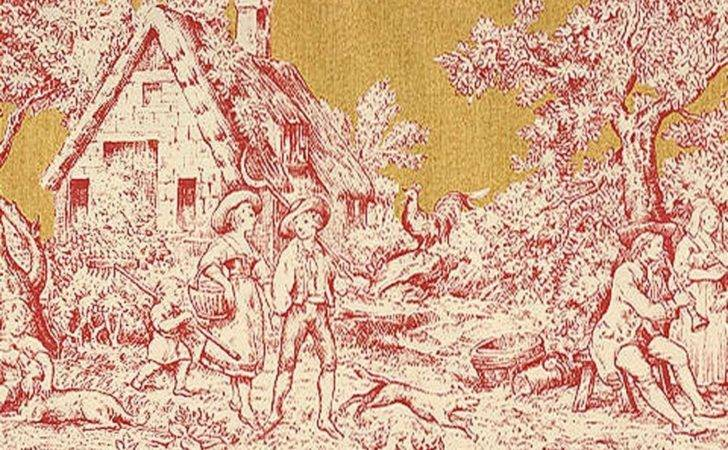 Border French Country Life Toile Rust
