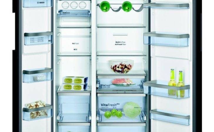 Bosch Kan American Style Fridge Freezer Black