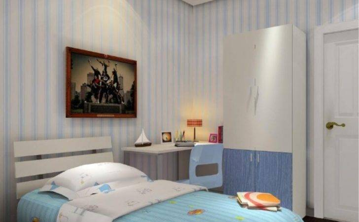 Boys Bedroom Light Blue Curtains American Style Furniture