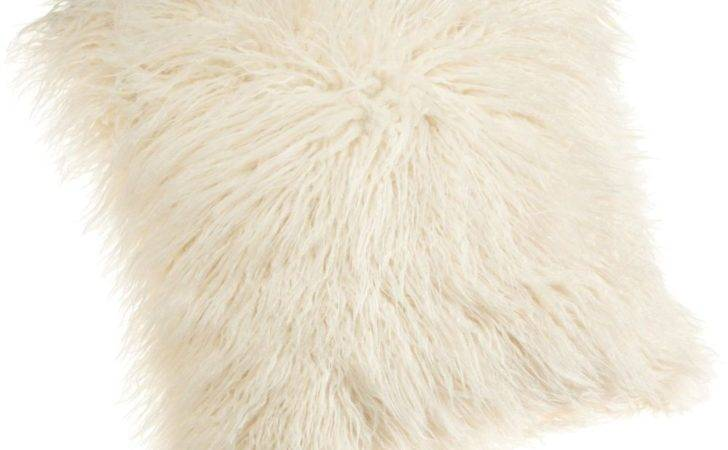 Brentwood Inch Mongolian Faux Fur Pillow White Fluffy