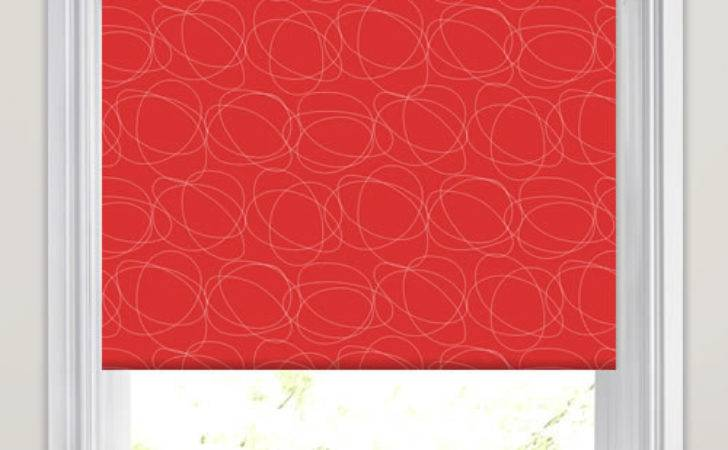 Bright Vibrant Red White Swirling Patterned Roller Blinds